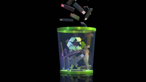 Recycle, USB falling into a Garbage Bin against black, Alpha - stock footage