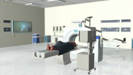 MRI Scan in Hospital room, camera pan right - motion graphic
