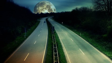 Traffic time-lapse under moonlight - stock footage