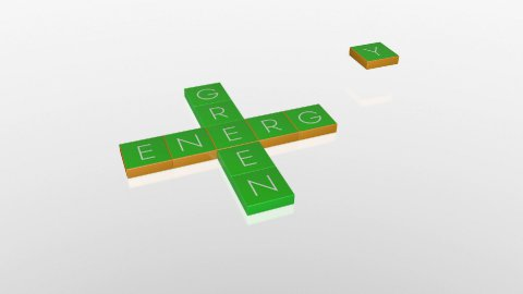 Green Energy, falling boxes with camera animation against white, Alpha - stock footage