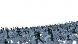 Metal Gears and Businessmans Running against white, Camera Fly Over, DOF - motion graphic