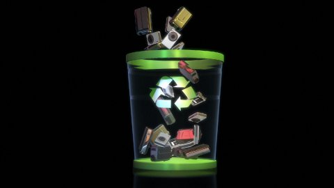 Cameras falling into a Garbage Bin against black, Alpha - stock footage