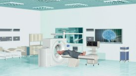 MRI Scan at Hospital, Camera panning - editable clip, motion graphic, stock footage