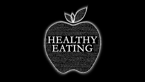 Nutrition Words forming Apple against black, Healthy Eating - stock footage