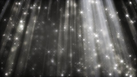 black and white background glittering particles in light beams loop - stock footage