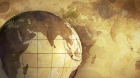vintage rotating globe and map of the world loopable background