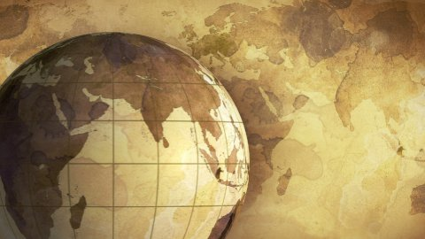 vintage rotating globe and map of the world loopable background - stock footage