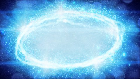 blue oval light and particles loop background - stock footage