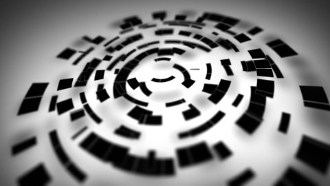 black circular segments rotate loop - stock footage