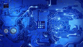 computer circuit board blue loopable background - motion graphic