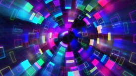 multicolored shiny circular segments blinking loop - motion graphic