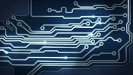 blue circuit board providing signals loop hi-tech background - motion graphic