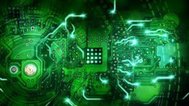 green computer circuit board background loop