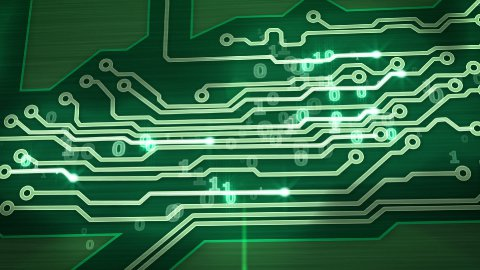 green digital circuit board pan loop - stock footage