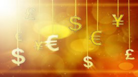 shiny currency signs dangling on strings loop background - motion graphic