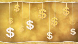 orange dollar signs dangling on strings loop background - motion graphic