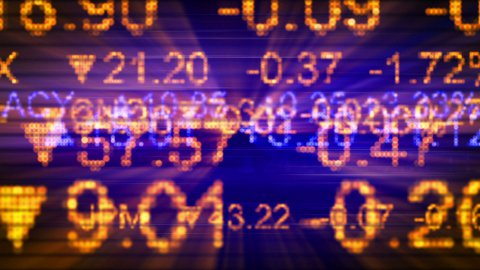 stock market quotes orange blue seamless loop background - stock footage
