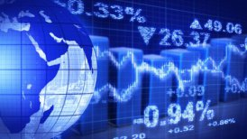 globe and graphs blue stock market loopable background - motion graphic