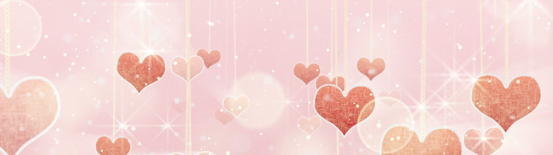 Pink hearts dangling on strings and glares loop | pink hearts dangling on strings and glares. computer generated seamless loop love motion background. HD 1080 progressive - ID:12852