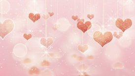 pink hearts dangling on strings and glares loop - motion graphic