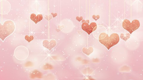 pink hearts dangling on strings and glares loop - stock footage
