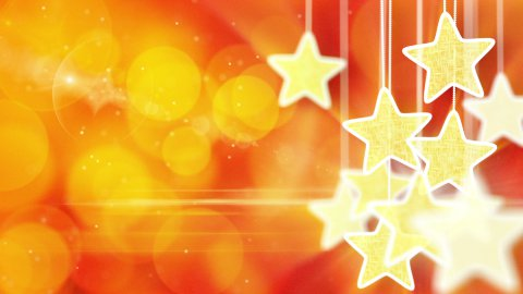 gold stars on red bokeh lights background loop - stock footage