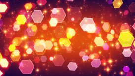 flashing hexagonal bokeh lights and particles loop