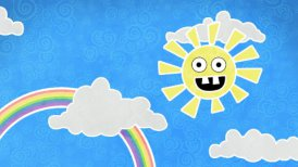 sun rainbow and clouds in sky loop animation