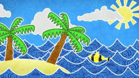 tropical island and palms loop animation - motion graphic