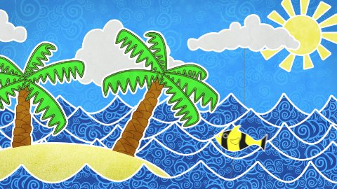 tropical island and palms loop animation - stock footage