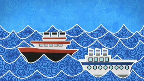 ships in the sea loopable animation - stock footage