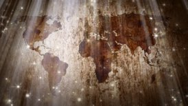 world map and particles loopable grunge background - motion graphic