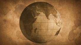 globe sketched on old paper grunge loop background