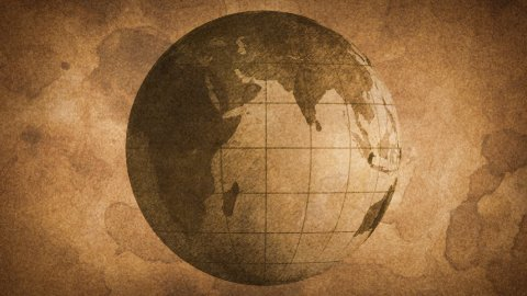 globe sketched on old paper grunge loop background - stock footage