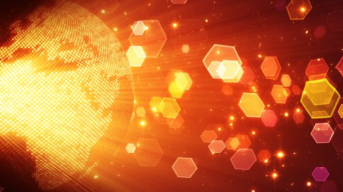 spinning shiny red disco stylized globe and flashing lights loop - stock footage
