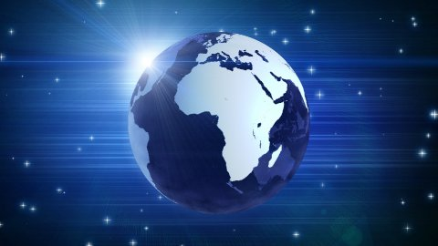 globe and stars on blue loop - stock footage
