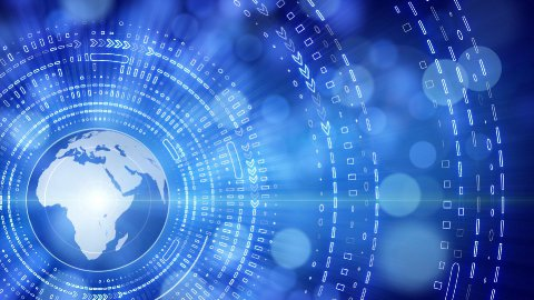 blue earth globe and tech circles loop - stock footage