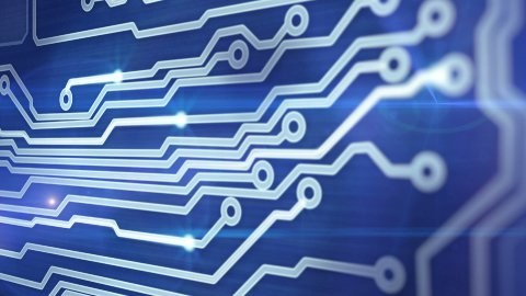 blue circuit board providing signals 3d animation - stock footage