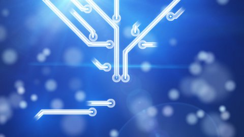 blue growing circuit board - stock footage