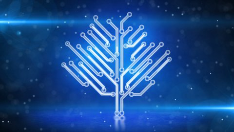blue electronic hi-tech tree growing loop - stock footage