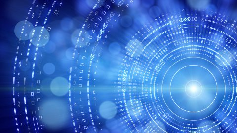 blue abstract background lights and tech circles loop - stock footage