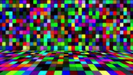 beaming multicolored squares musical loopable background - motion graphic