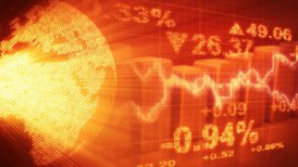 globe and graphs orange stock market loopable background - motion graphic