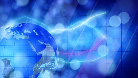 globe and graphs blue businees loopable background - stock footage