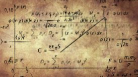 math physics formulas on old paper loopable - motion graphic