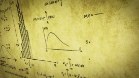math physics formulas on old paper panning loop - motion graphic