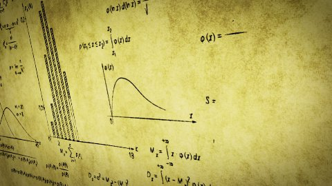math physics formulas on old paper panning loop - stock footage