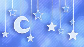 night time decoration moon and stars dangling on strings loop - motion graphic