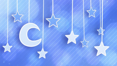 night time decoration moon and stars dangling on strings loop - stock footage