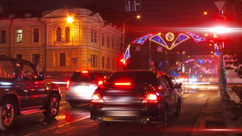 night city traffic on crossroad with festive illumination timelapse - stock footage